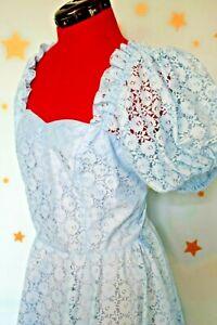 80s vintage blue lace bridesmaid dress