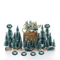 55Pcs Mini Christmas Tree Xmas Ornament Desktop Trees Miniature Party Home Decor
