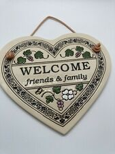 Welcome Friends & Family Oval Ceramic Sign Wall Art Decor Trinity Pottery Grapes