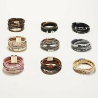 Multilayer Leather Bracelet Pearl Crystal Woven Wrap Bangle briaded Jewelry New