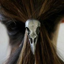 Halloween Punk Silver Bird Skull Hair Tie Plague Doctor Crow Raven Elastic Band