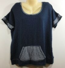 Maurices Womens Knit Top Size L Short sleeves Navy White Oversized