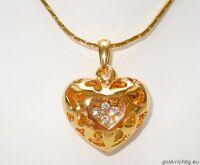 Halskette + Herz Anhänger Geschenk Kristalle Kette Damenkette Geburtstag NEU+OVP