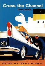 Cross The Chanel de Douvres britanniques et chemins de fer français travel poster print