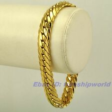 """9""""9mm30g REAL SUPPER MEN 18K YELLOW GOLD GP BRACELET SOLID FILL GEP SNAKE CHAIN"""