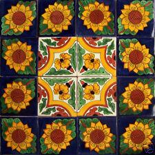 W154 - 16 Mexican Talavera Tiles 4 x4 Ceramic Handmade