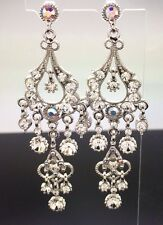 Chandelier Crystal Long Swarovski Earring Silver 8cm Formal Wedding Diamante