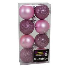 Christmas Decoration 8 Pack 50mm Glitter / Plain Baubles - Pink