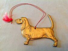 Bassett Hound X-mas ornament, gold