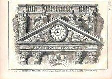 Le palais des Tuileries Ruines Horloge Paris France ANTIQUE PRINT 1883