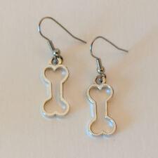 Silver Tone Dog Bone Cutout Stainless Steel Wire Dangle Earrings
