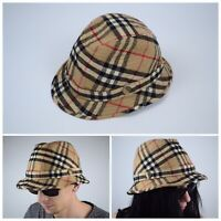 Vintage BURBERRYS Nova Check Plaid Wool Bucket Hat/Cap Size 61 Burberry