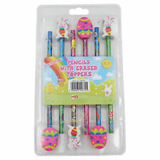 Easter Arts and Crafts - 6 Pack Pencils with Eraser Tops
