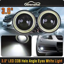 "2x 3"" White Projector LED Fog Light w/ White Angel Eyes Halo Ring DRL 12V 20W"