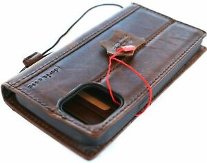 Genuine Leather Case For Apple iPhone 13 Pro Max Wallet Vintage Cover Book Retro