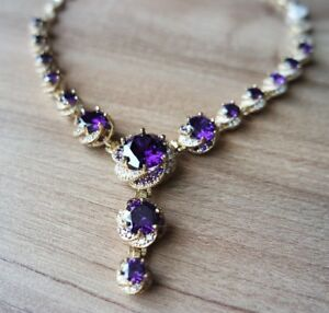AMETHYST TOPAZ STERLING SILVER 925K AND BRONZE PENDANT BRACELET EARRING RING SET