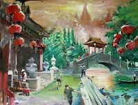 Chinese Landscape Painting Oil Canvas Original Impressionism Village 23x18in