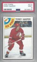 1978 Topps hockey card #214 Terry Harper, Detroit Red Wings graded PSA 9