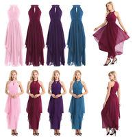 Ladies Sleeveless Halter Chiffon Elegant Cocktail Evening Party Dress Ball Gown
