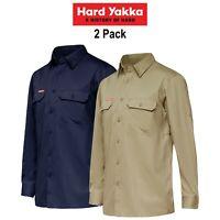 Mens Hard Yakka Koolgear Long Sleeve Work Shirt 2 Pack Vented Cool Twill Y07720