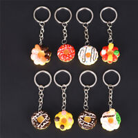 8 Pcs Doughnuts Keychain Pendant Bread Food Keyring For Souvenior Gift Vh