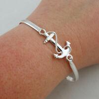 Anchor Bangle Bracelet w/ Rope 925 Sterling Silver Latch Closure Nautical Gift