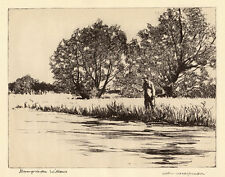 Hampshire Willows, SUPERB Norman Wilkinson fishing print 1930s, ready mounted