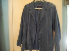 Suede Leather Blazer, Women's, Large, Blue, 3 button, Dialogue, used