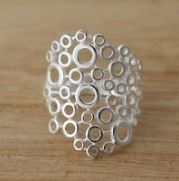 Solid 925 Sterling Silver Circles Bubbles Design Plain Wide Band Ring Jewellery