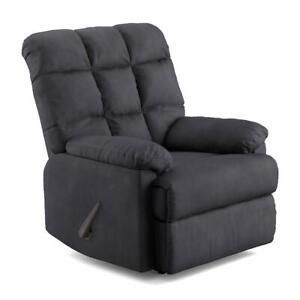Recliner Chair, Baja Wall Hugger, Microfiber Biscuit Back Recliner, Gray