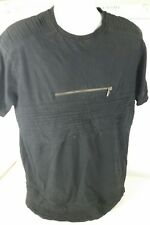 BIKER T-SHIRT BY MAKOBI - MEN'S large - BLACK with zippers style M189