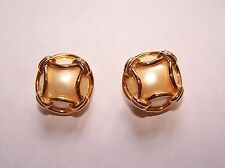 Signed Joan Rivers Classic Collection Gold Tone Caged Pearl Clip On Earrings