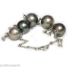 """Tahitian Pearl Chain Necklace 14kt white gold 18"""" 15 -14 mm"""