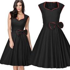 Damen Ärmellos Knielang kleid Abendkleid Festliche Ballkleider Partykleid 36-44