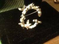Vintage Initial G  Pin Brooch-Sarah Coventry Signed-Gold Tone