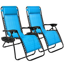 Zero Gravity Chairs Case Of (2) Lounge Patio Chairs Outdoor Yard Beach- Light Bl