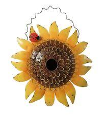 Hanging Metal Decorative Sunflower with Ladybug Bird House Garden Decor, 11.5-In