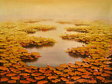 Original - WATERLILLIES Susan Tran - Large 99x130cm ...SPECTACULAR !!