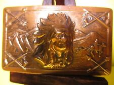 RARE 1940's Brass Belt Buckle Indian Chief Arrows Peace Pipe Horse Tee Pee