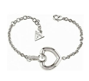Guess Giselle Open Heart Rhodium Plated Silver Bracelet