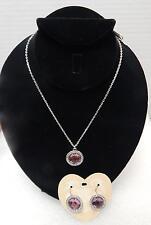 Brighton Trinity Aura JN8872 Necklace & JE7522 Earrings Pink Stone Silverplated