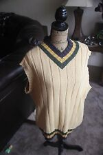 WILLIS GEIGER FISHING VEST KNIT MENS TAN YELLOW BLUE GREEN LARGE OUTFITTERS L