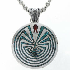STERLING MAN IN A MAZE PENDANT, turquoise and coral.