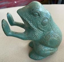 Standing Frog Heavy Metal Figurine Green Patina Bronze Brass Door Stop Vintage
