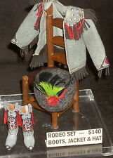 Dollhouse Miniature Cowgirl Rodeo Boots Jacket Hat 1:12 Dudley Grey 3180