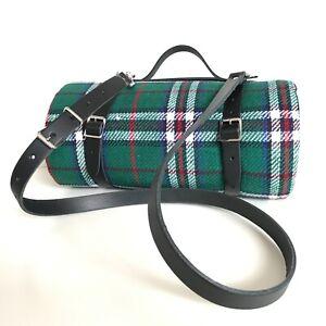 BLACK Leather Picnic Blanket Strap with Carry Handle & Shoulder Strap