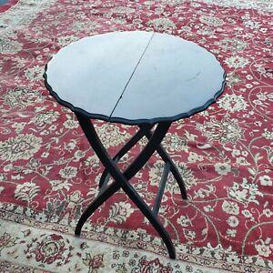 Antique Mahogany?Small Round folding Butlers stand  table server buffet handmade