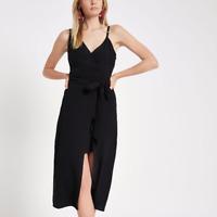 River Island Wrap Front Tie Waist Cami Black Midi Dress Size 12
