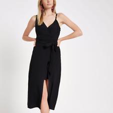 River Island Wrap Front Tie Waist Cami Black Midi Dress Size 10