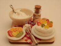 Dolls house food: Making fresh fruit meringue prep board   -By Fran